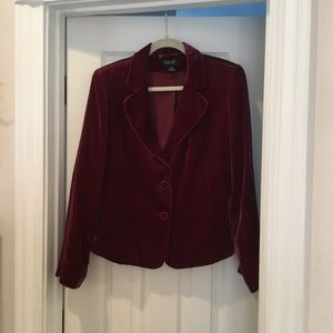 Velvet Crop 2-Button Blazer Jacket